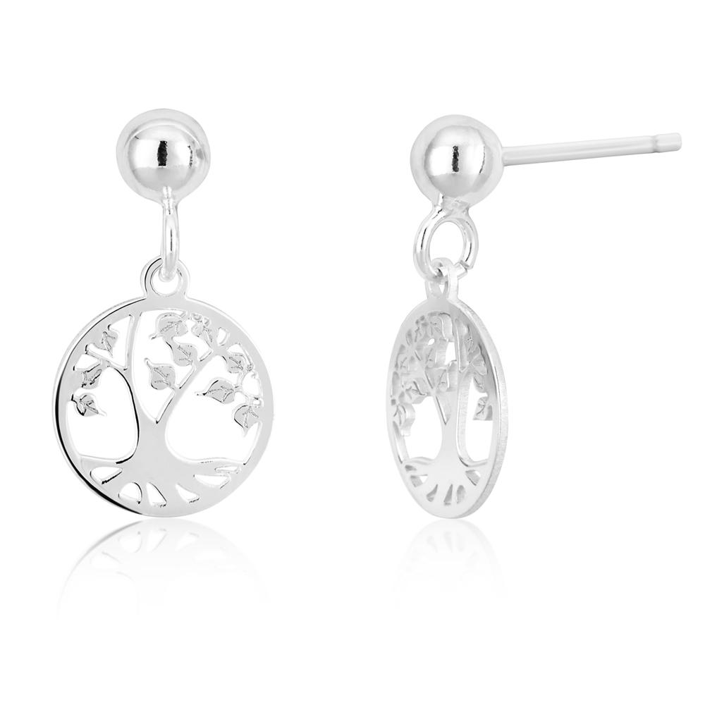 Sterling Silver 10mm Tree Of Life Earrings