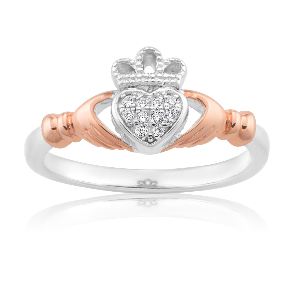 Sterling Silver and Rose Gold Plated Zirconia Claddagh Ring