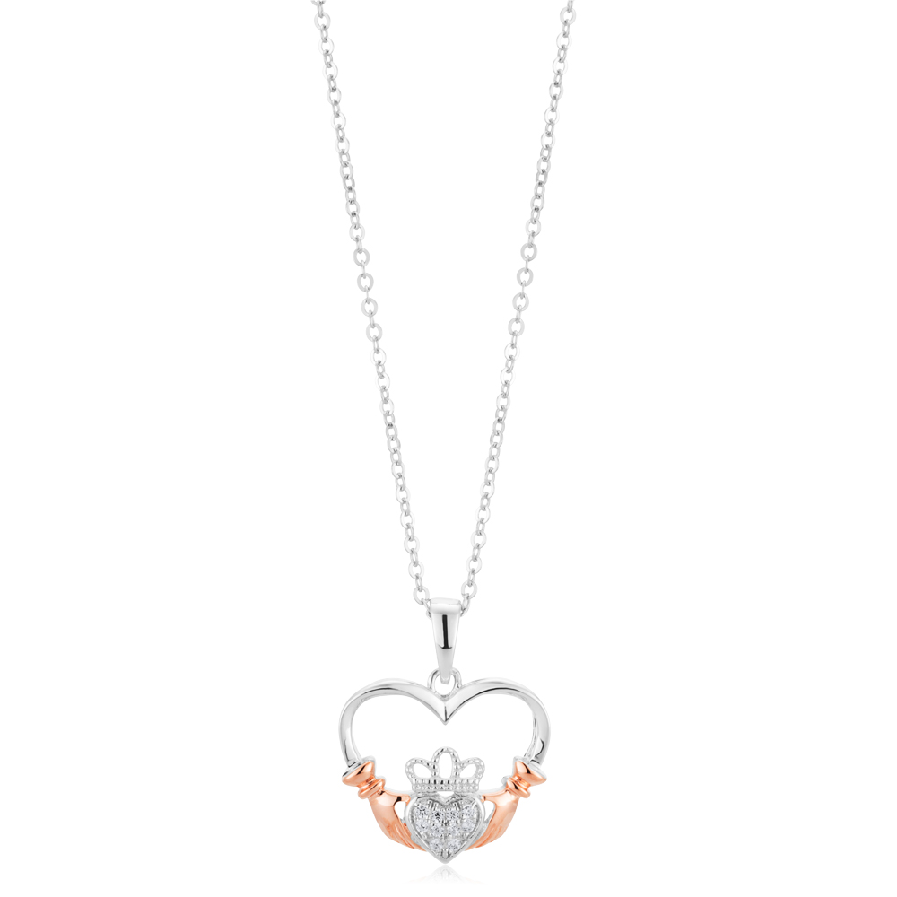 Sterling Silver and Rose Plated Zirconia Claddagh Pendant