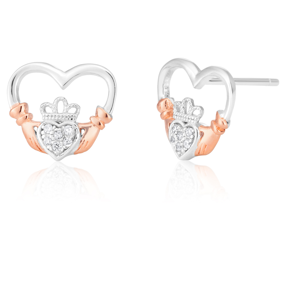 Sterling Silver and Rose Plated Zirconia Claddagh Stud Earrings