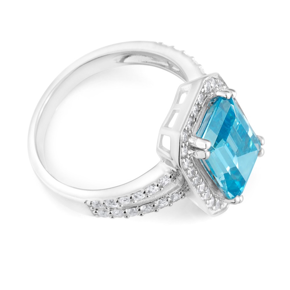 Sterling Silver Sky Blue Zirconia Emerald Cut Ring