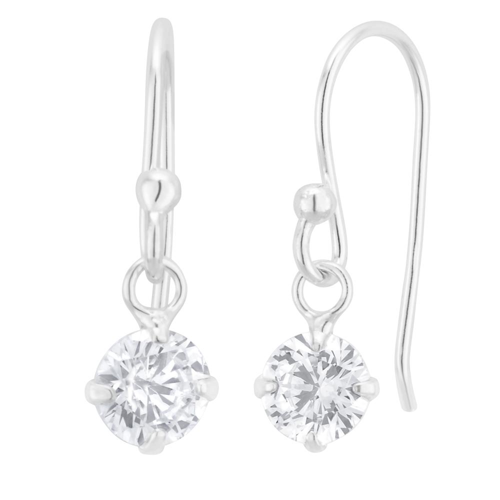 Sterling Silver Zirconia Round Drop Earrings