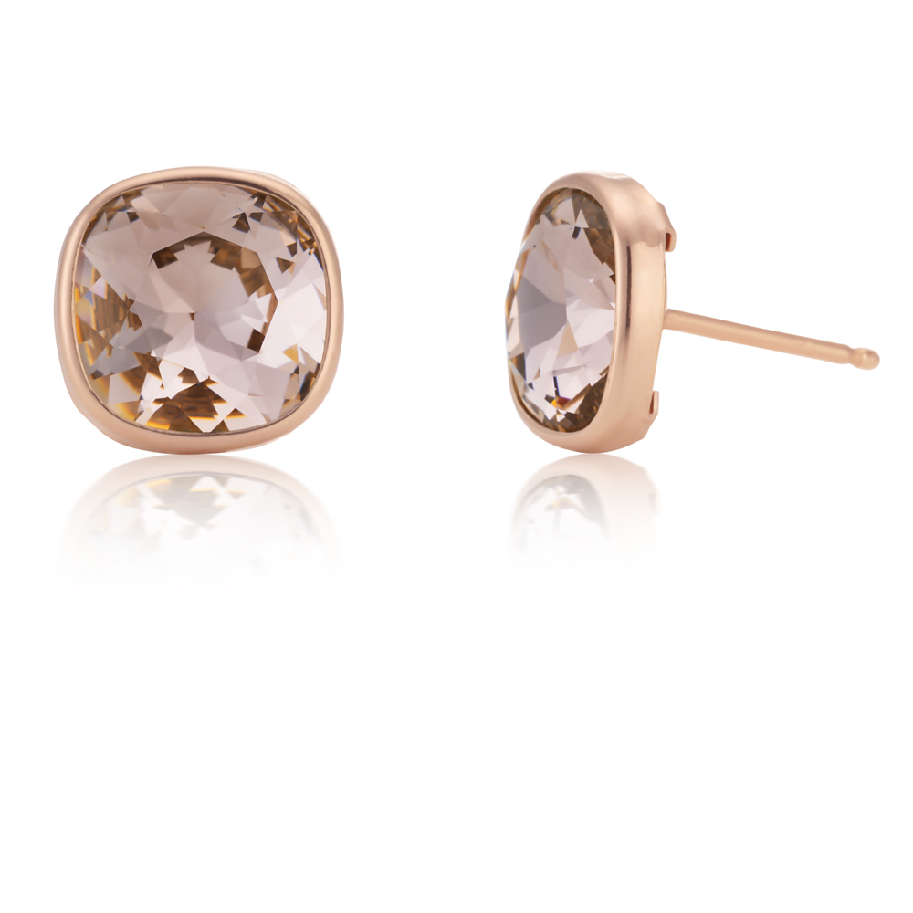Sterling Silver and Rose Gold Plated Swarovski Champagne Crystal Stud Earrings