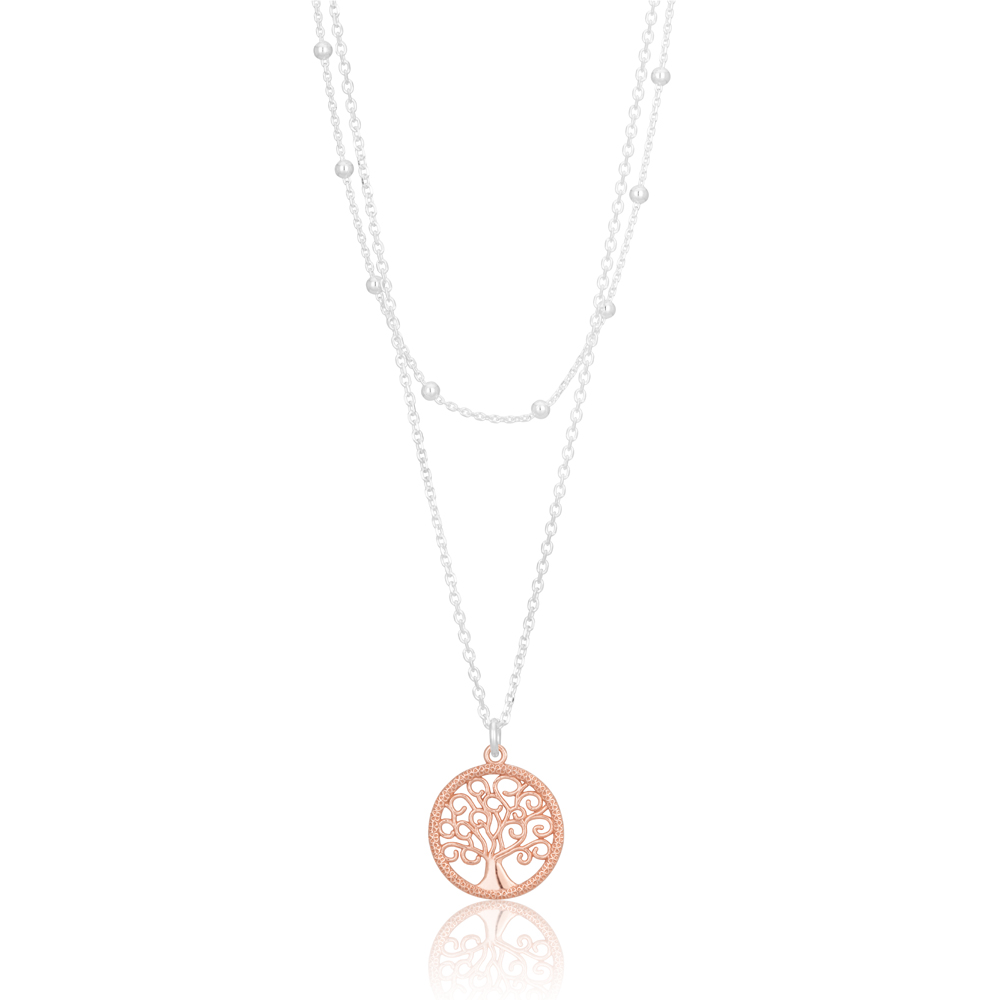 Sterling Silver and Rose Gold Plated Tree of Life Pendant with Chain