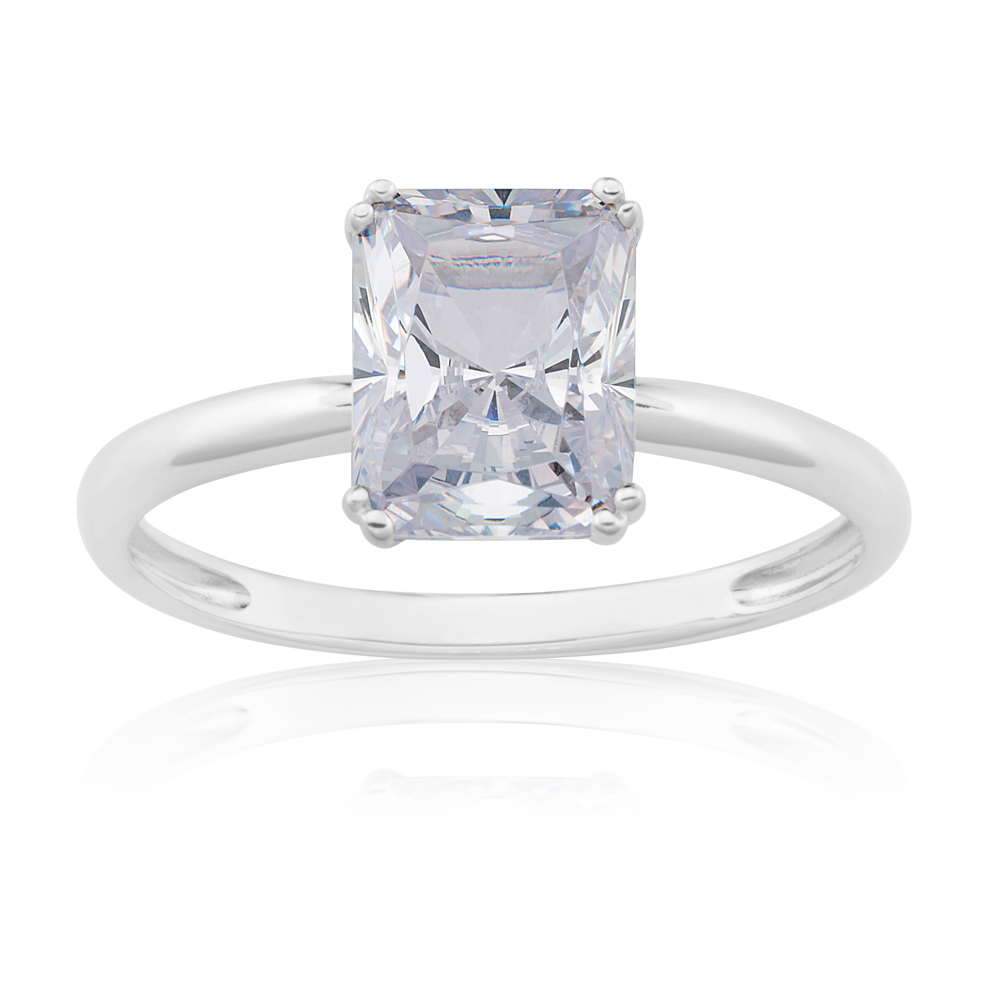 Sterling Silver Emerald Cut Zirconia Solitaire Ring