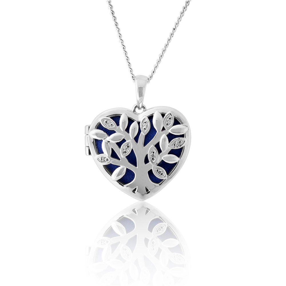 Sterling Silver Cubic Zirconia Tree of Life Locket with Blue Velvet Pendant