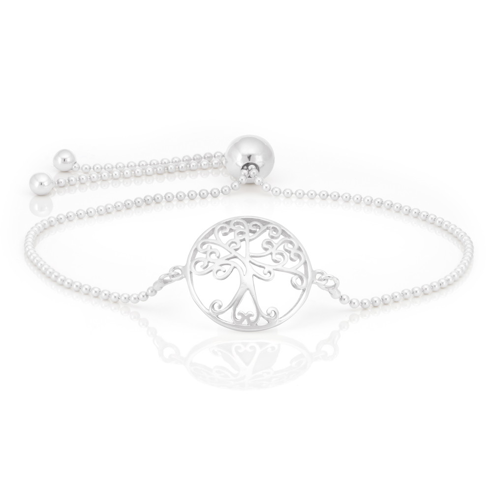 Sterling Silver Rhodium Plated Tree of Life 23cm Adjustable Sliding Bracelet