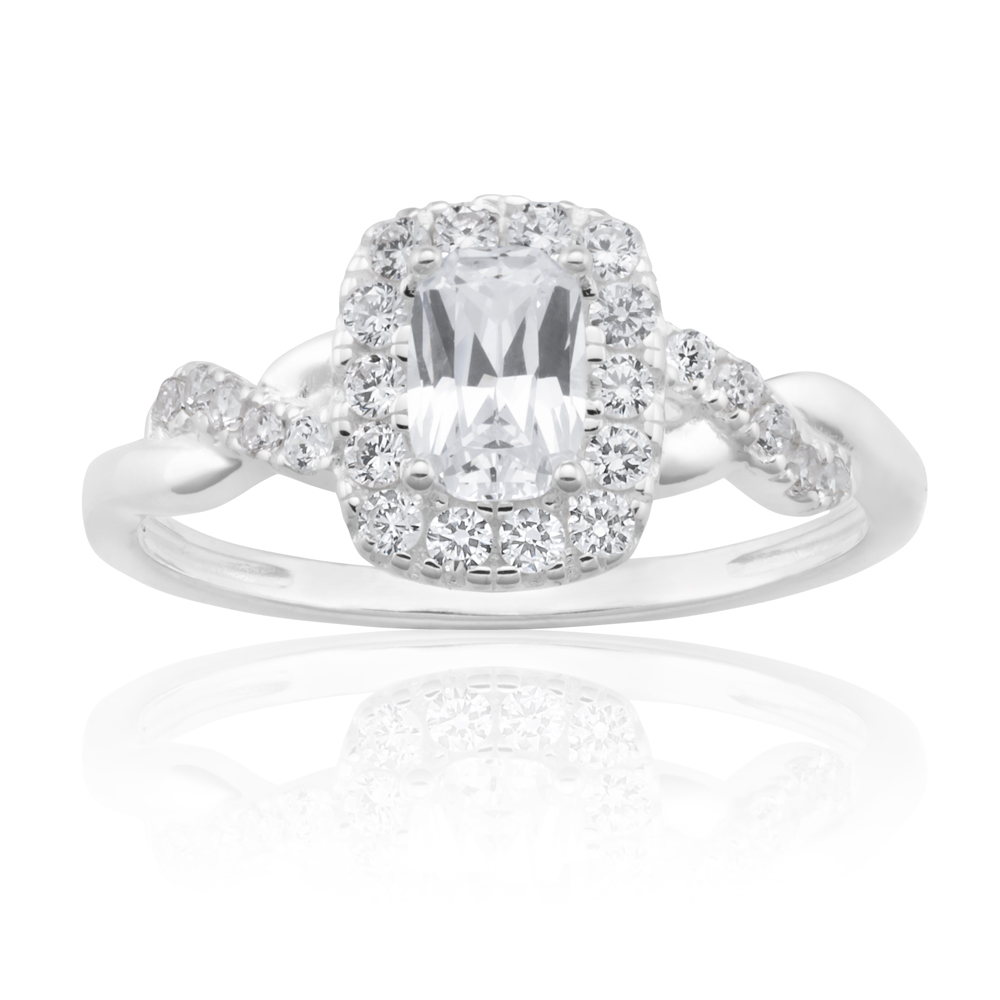 Sterling Silver Zirconia Cushion Cut Halo Crossover Ring