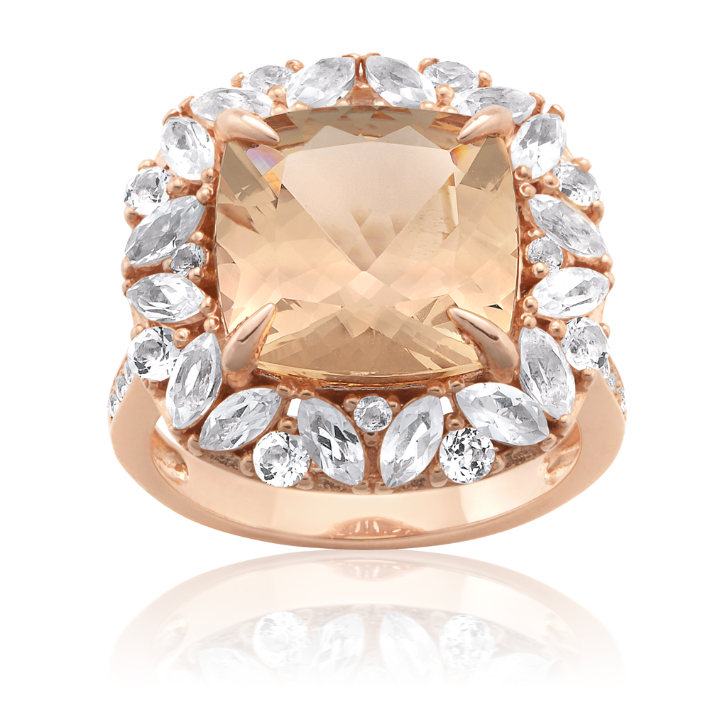 Morganite & White Topaz Plated With 14ct Rose Gold Sterling Silver Cocktail Ring