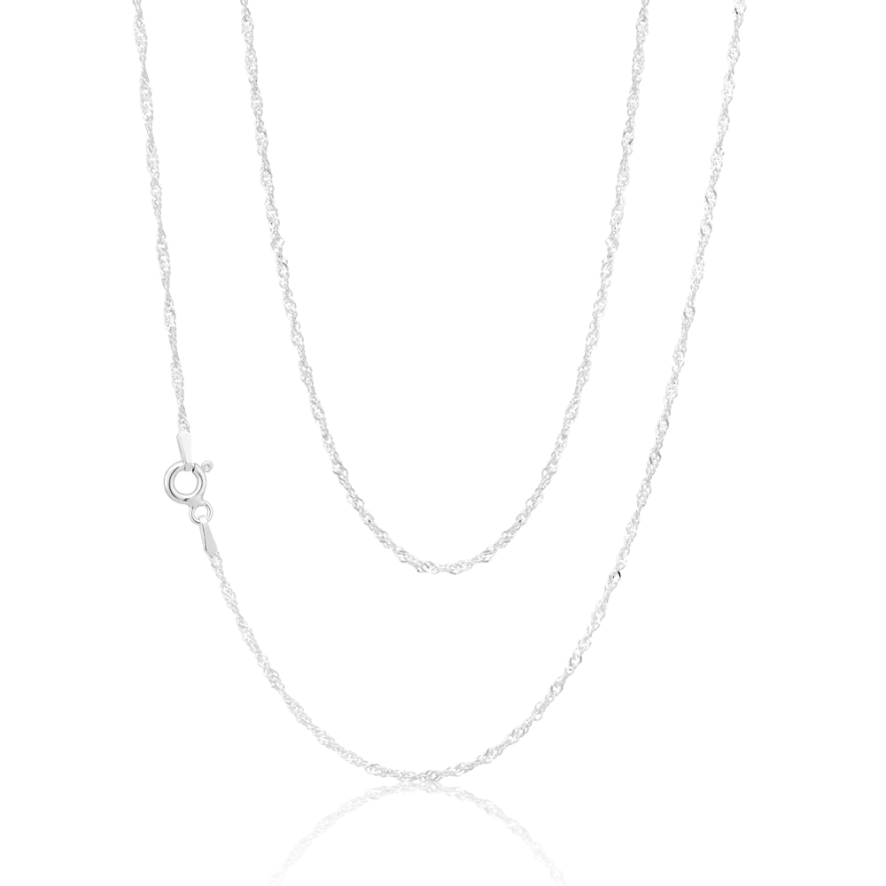 Sterling Silver 45cm 25 Gauge Singapore Chain