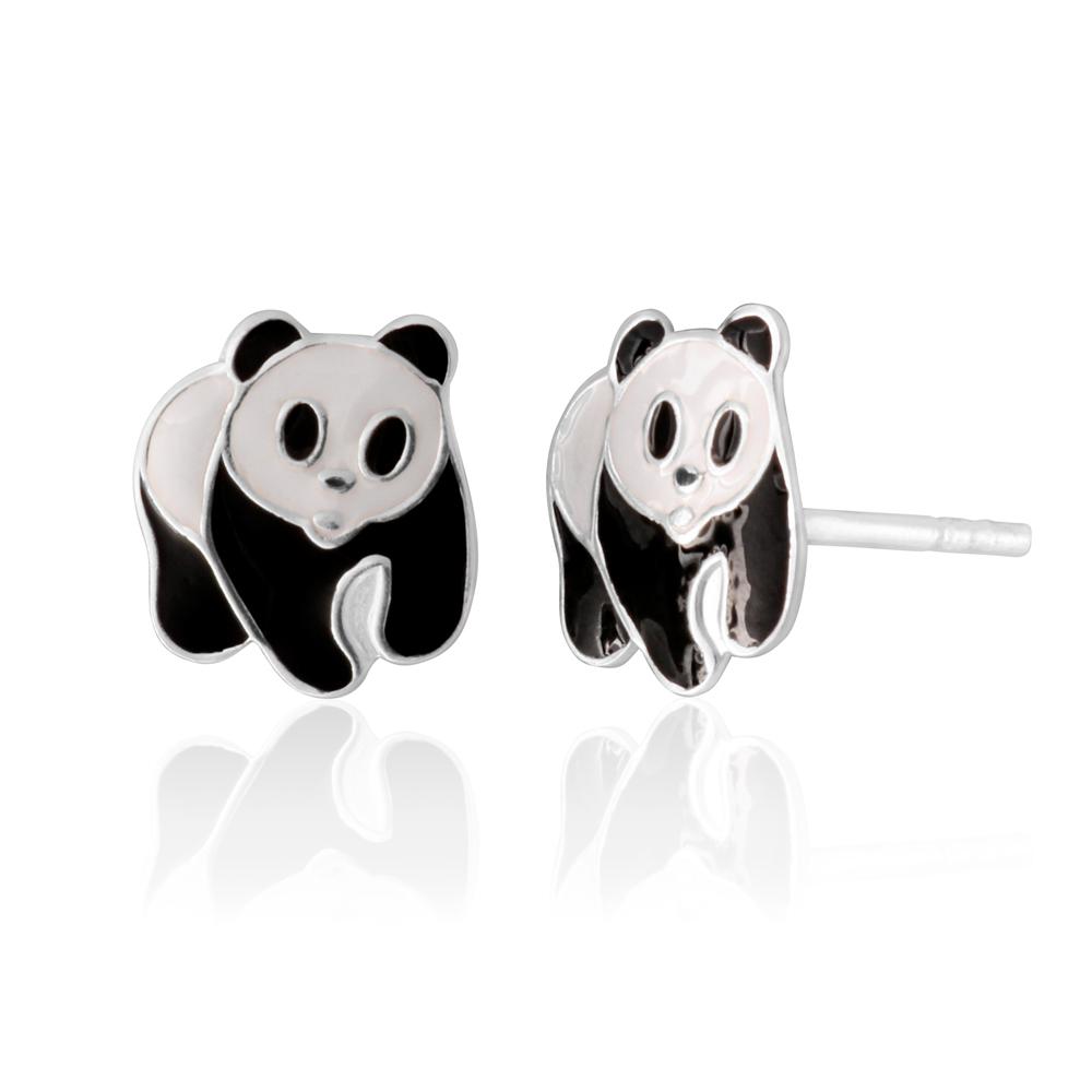 Sterling Silver Black and White Panda Stud Earrings