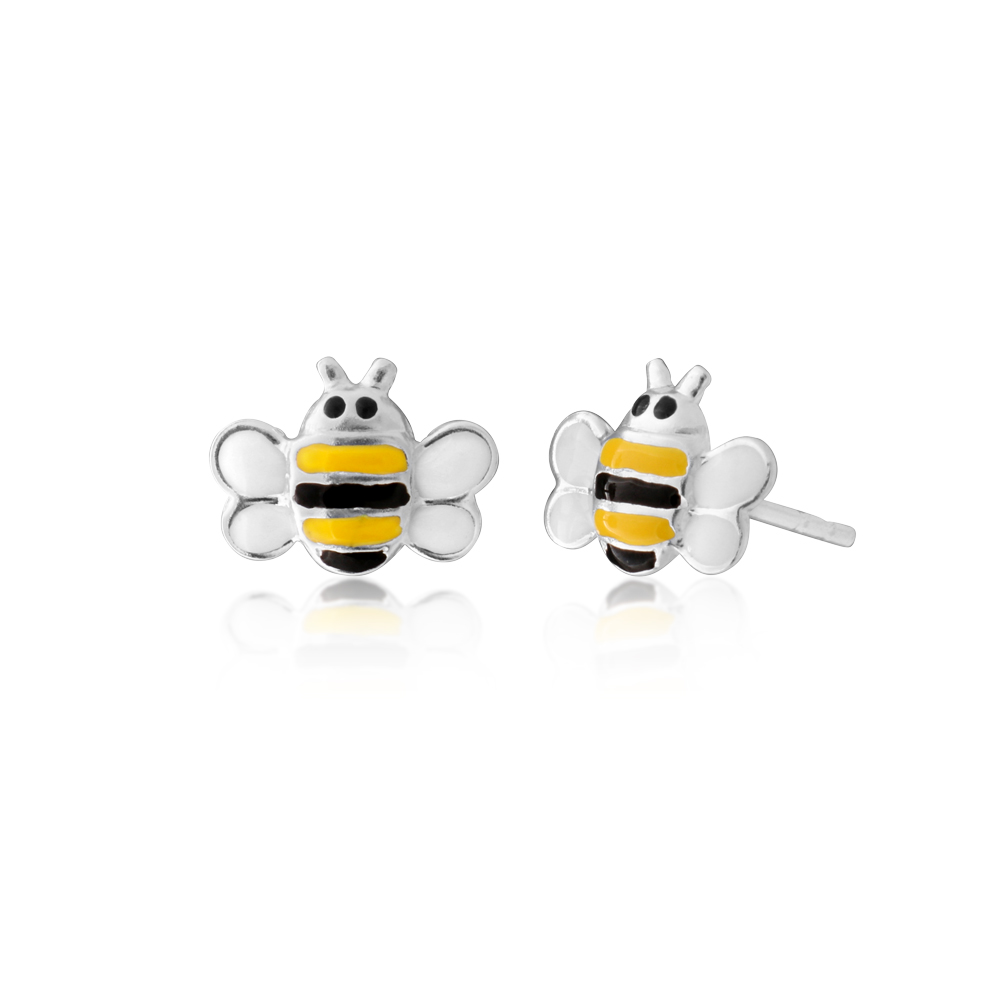 Sterling Silver Black and Yellow Bee Stud Earrings