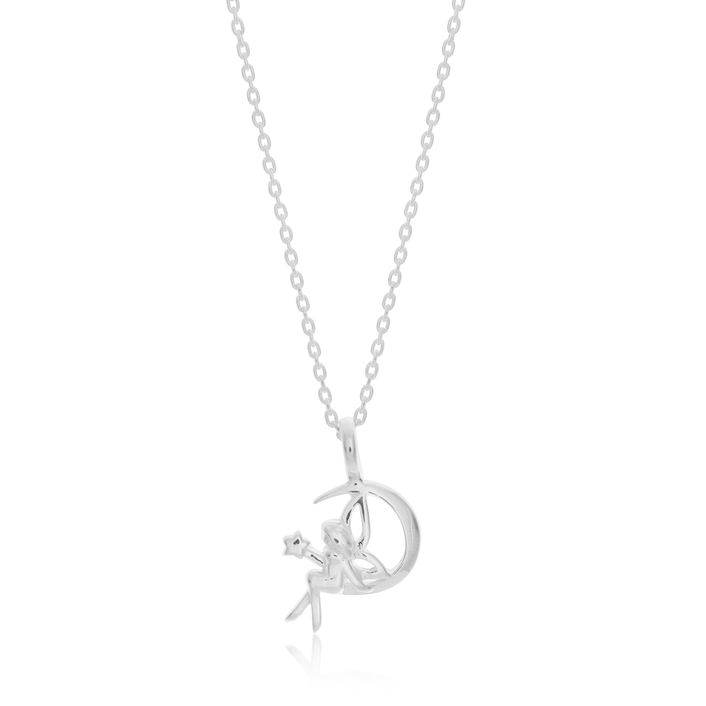 45cm Sterling Silver Fairy on Crescent Moon Pendant on Sterling Silver Chain