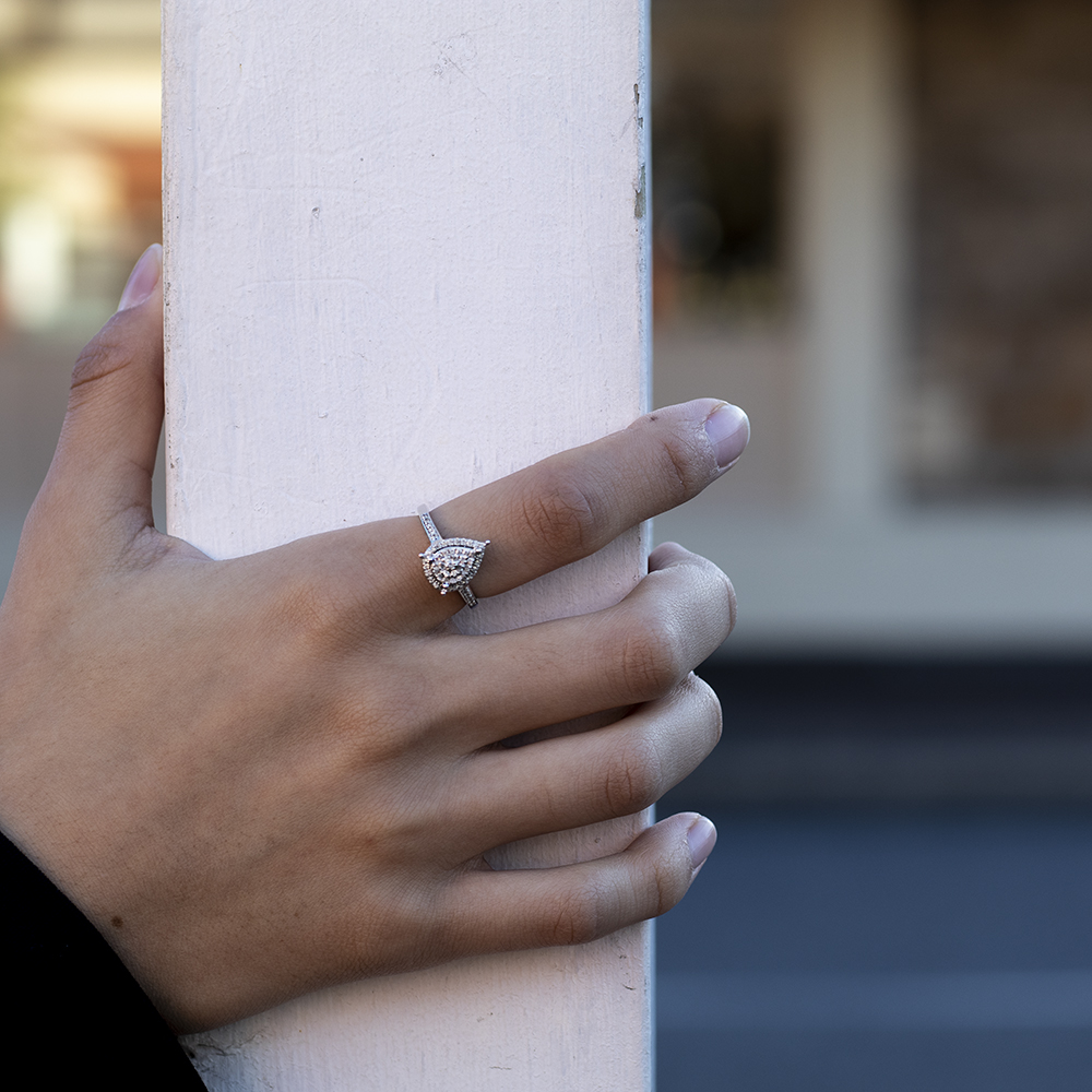 Sterling Silver 1/4 Carat Pear Shape Diamond Dress Ring