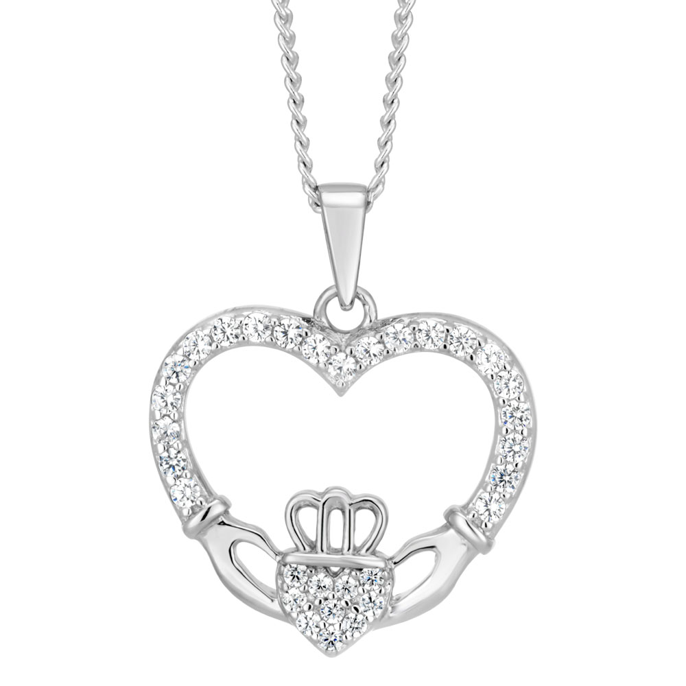 Sterling Silver Zirconia Claddagh Pendant