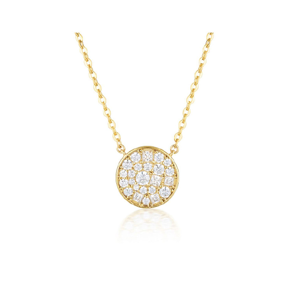Sterling Silver and Gold Plated Georgini Mosaic Zirconia Round Pendant