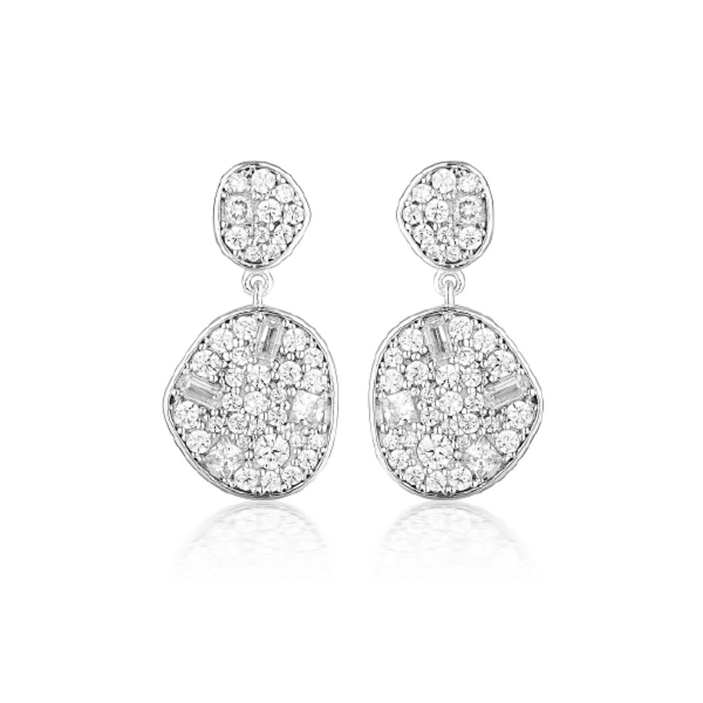 Sterling Silver Georgini Mosaic Zirconia Stud Back Drop Earrings