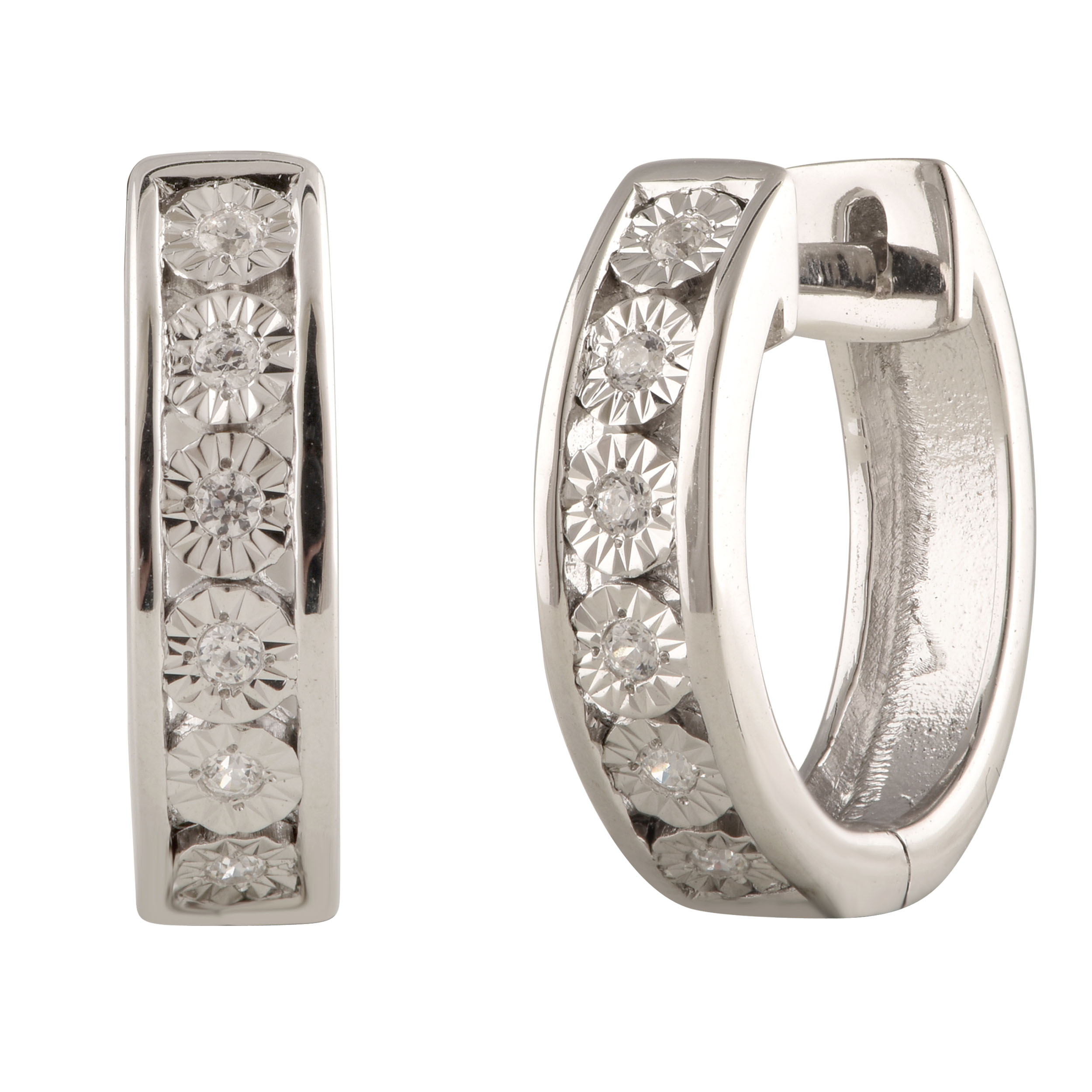 Sterling Silver Diamond Hoops Earrings