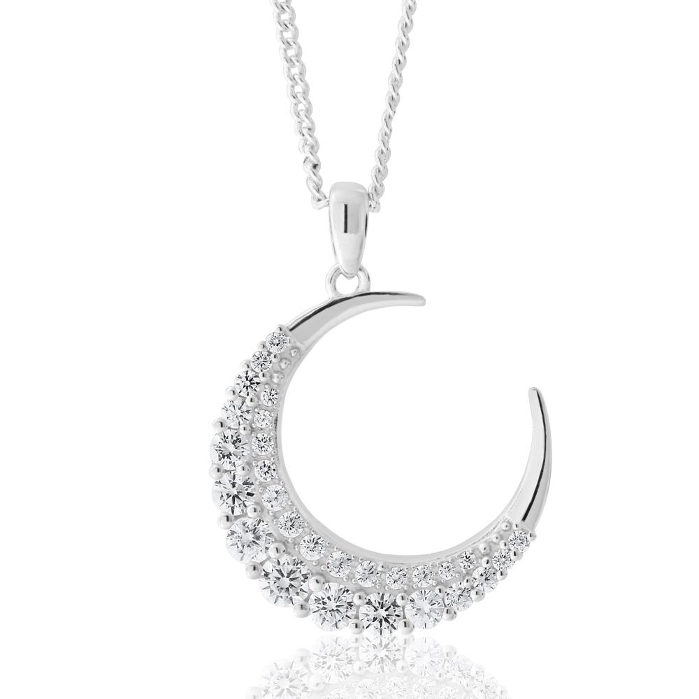 Sterling Silver Zirconia Crescent Moon Pendant