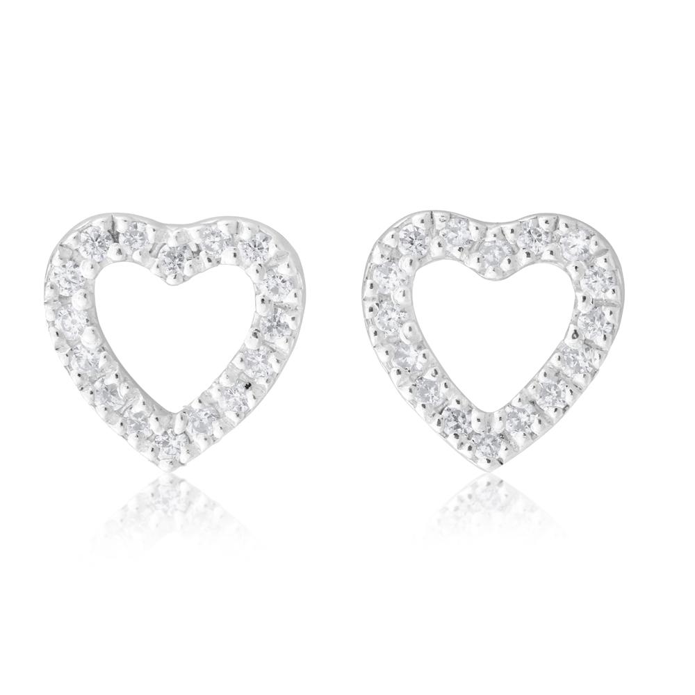 Sterling Silver Zirconia Open Heart Stud Earrings