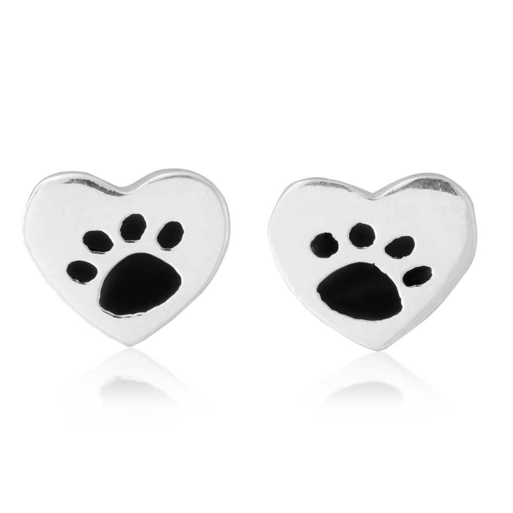 Sterling Silver Heart with Paw Print Stud Earrings