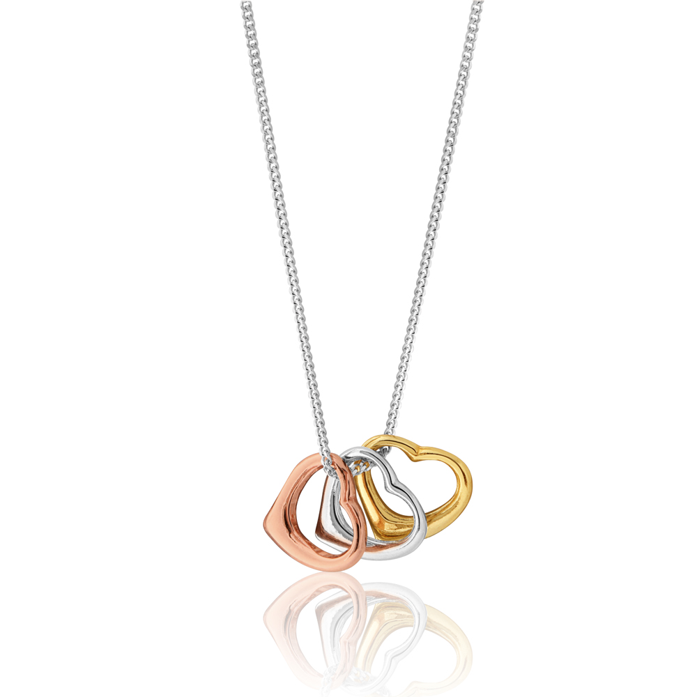 45cm Sterling Silver Rose Gold Plated and Gold Plated Triple Floating Heart Pendant