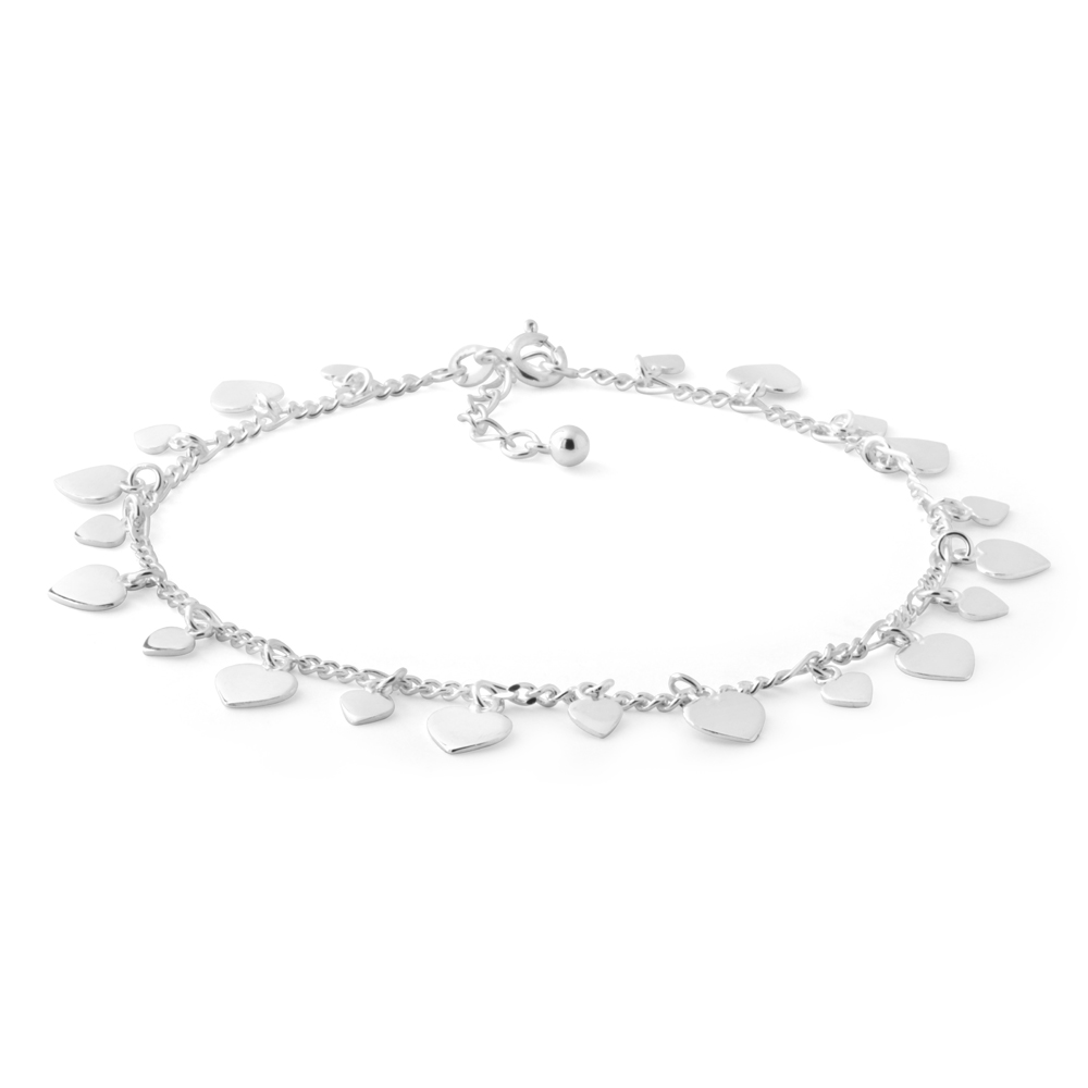 Sterling Silver 25cm Multi Heart Charm Anklet