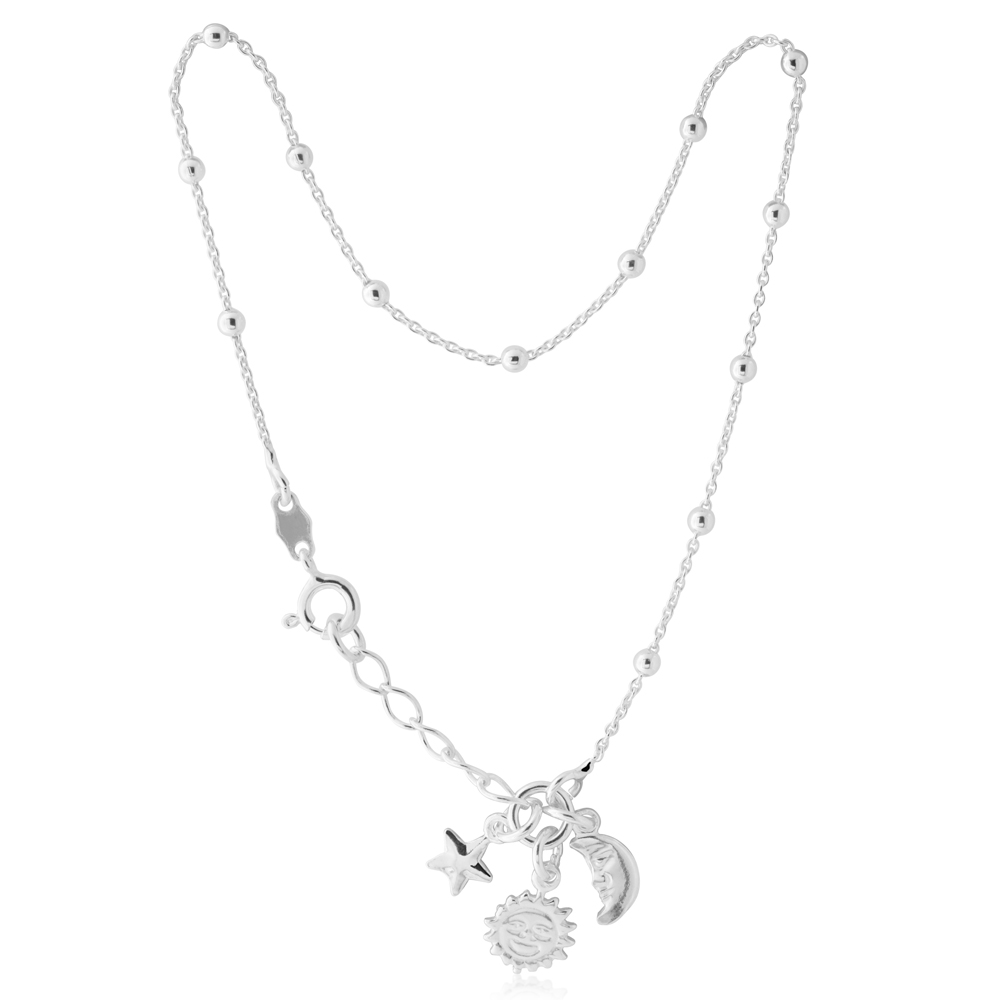 Sterling Silver 25cm Sun Moon and Star Charm Anklet