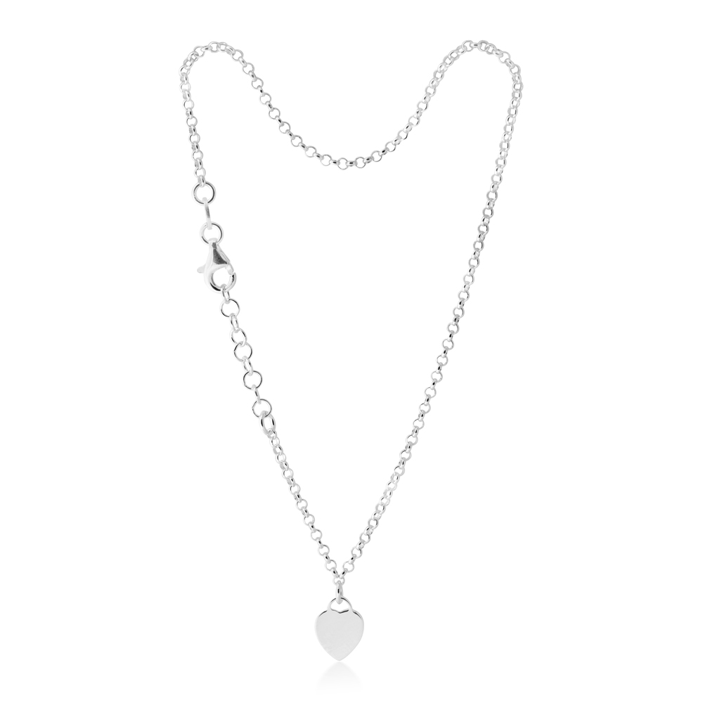 25cm Sterling Silver Heart Charm Trace Anklet