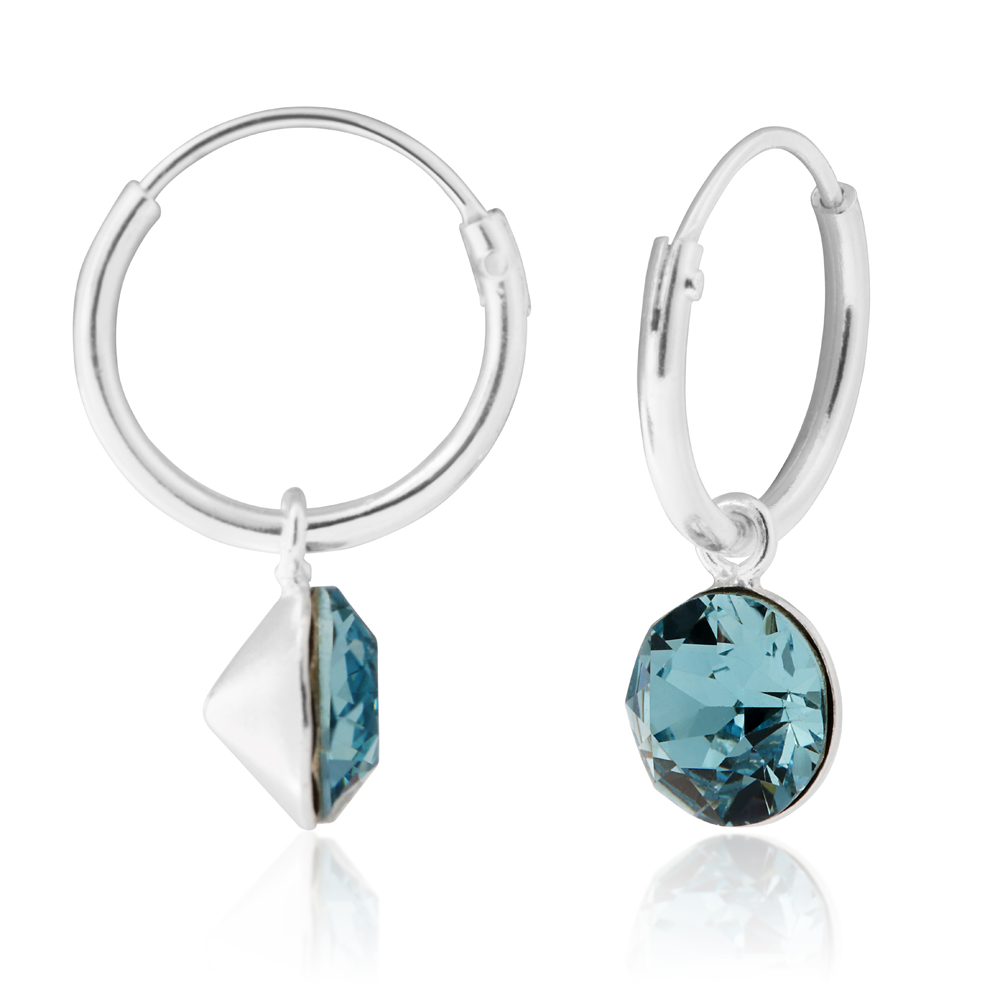 Sterling Silver 12mm Light Blue Swarovski Crystal 6mm Charm Hoop Earrings