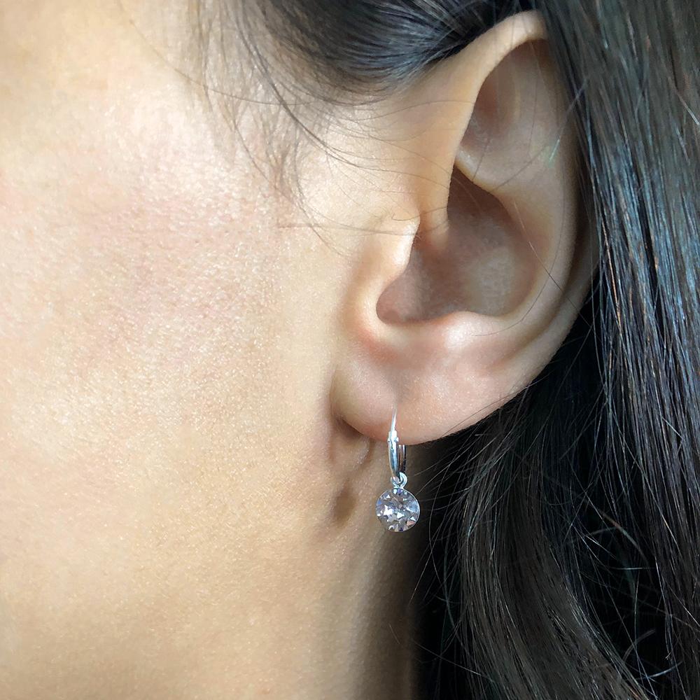 Sterling Silver 12mm White Swarovski Crystal 6mm Charm Hoop Earrings
