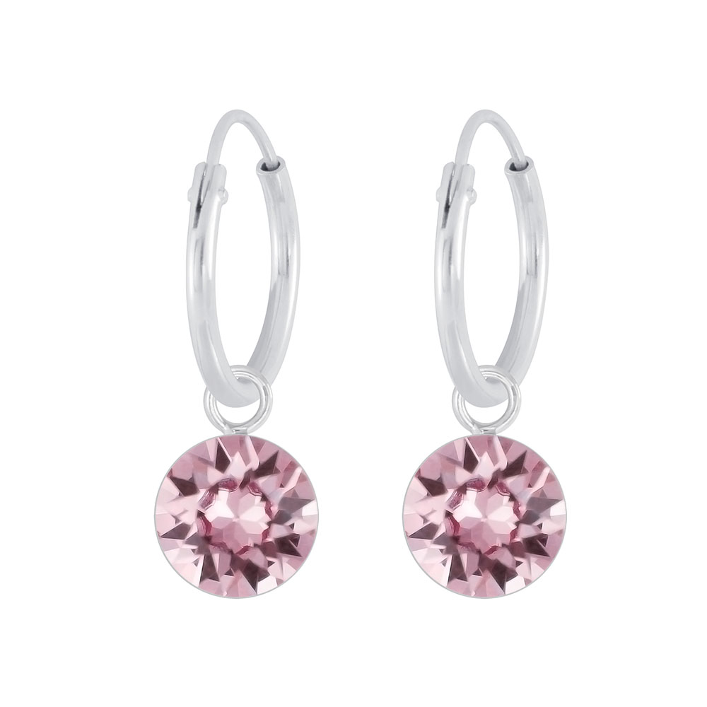 Sterling Silver 12mm Vintage Rose Swarovski Crystal 6mm Charm Hoop Earrings