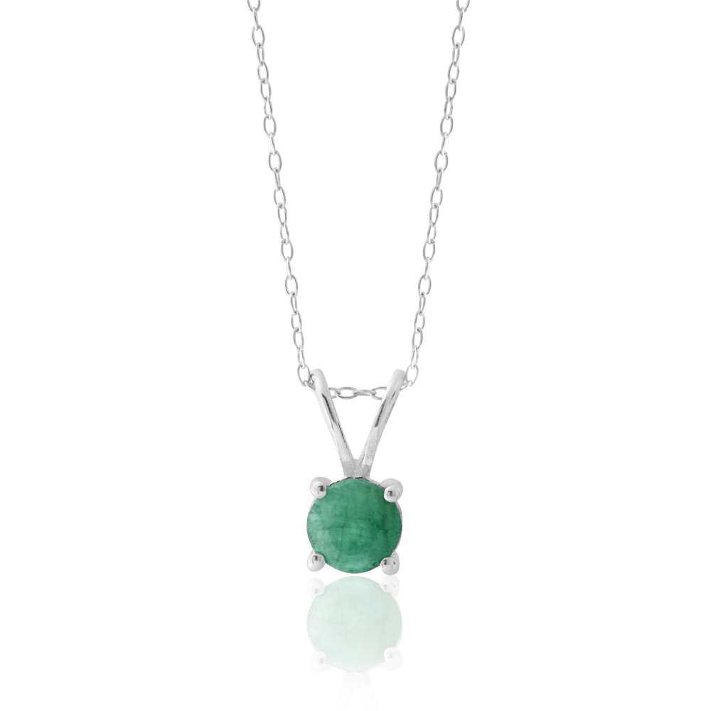 Sterling Silver Natural Enhanced Emerald 6mm Pendant with Chain