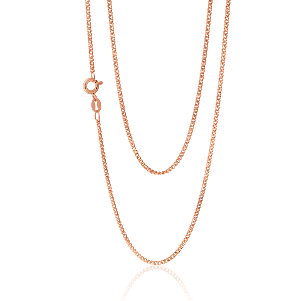 Sterling Silver Rose Plated 45cm Curb Dicut Chain