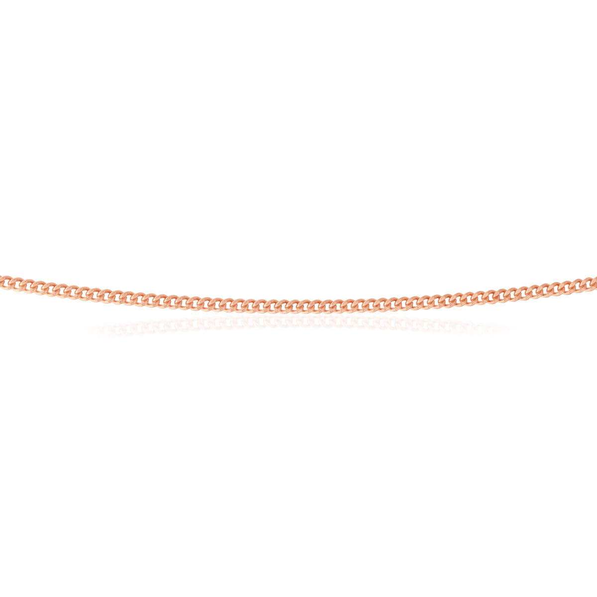 Sterling Silver Rose Plated 55cm Curb Dicut Chain