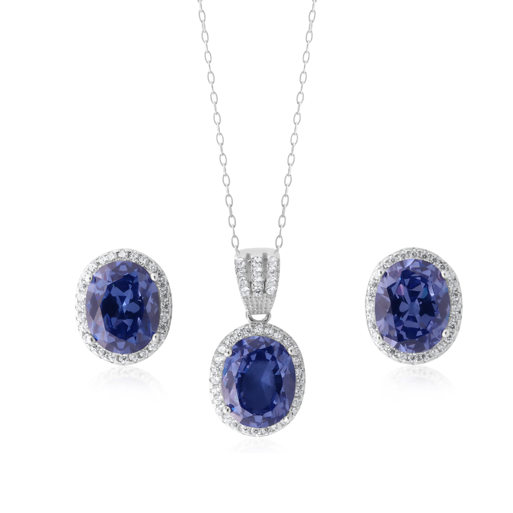 Sterling Silver Cobalt and White Zirconia Pendant and Stud Earring Set with Chain