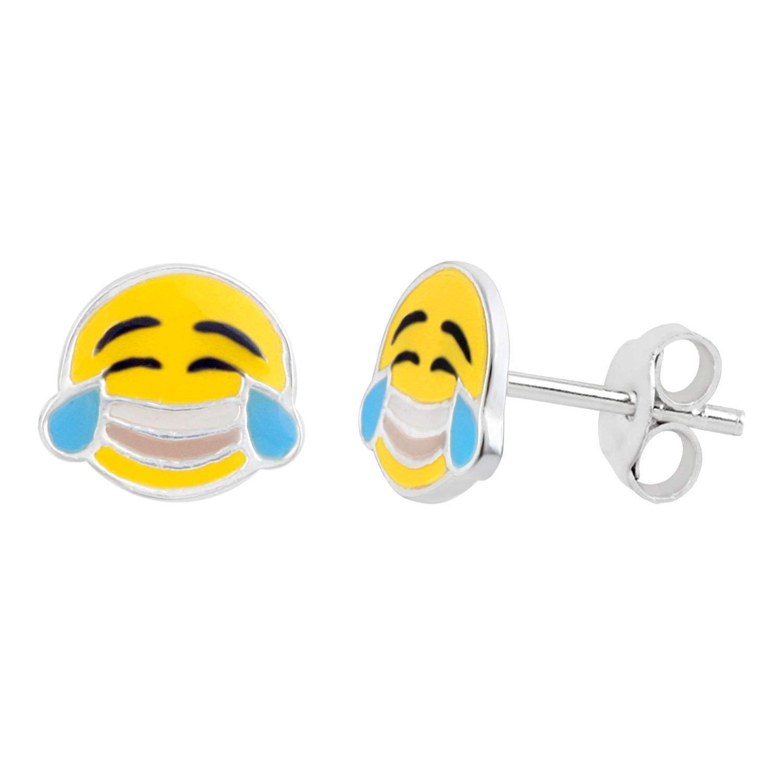 Sterling Silver Emoji Cry Laughing Stud Earrings