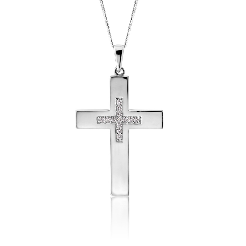 Sterling Silver Cross Pendant featuring Cubic Zirconia Cross Centre