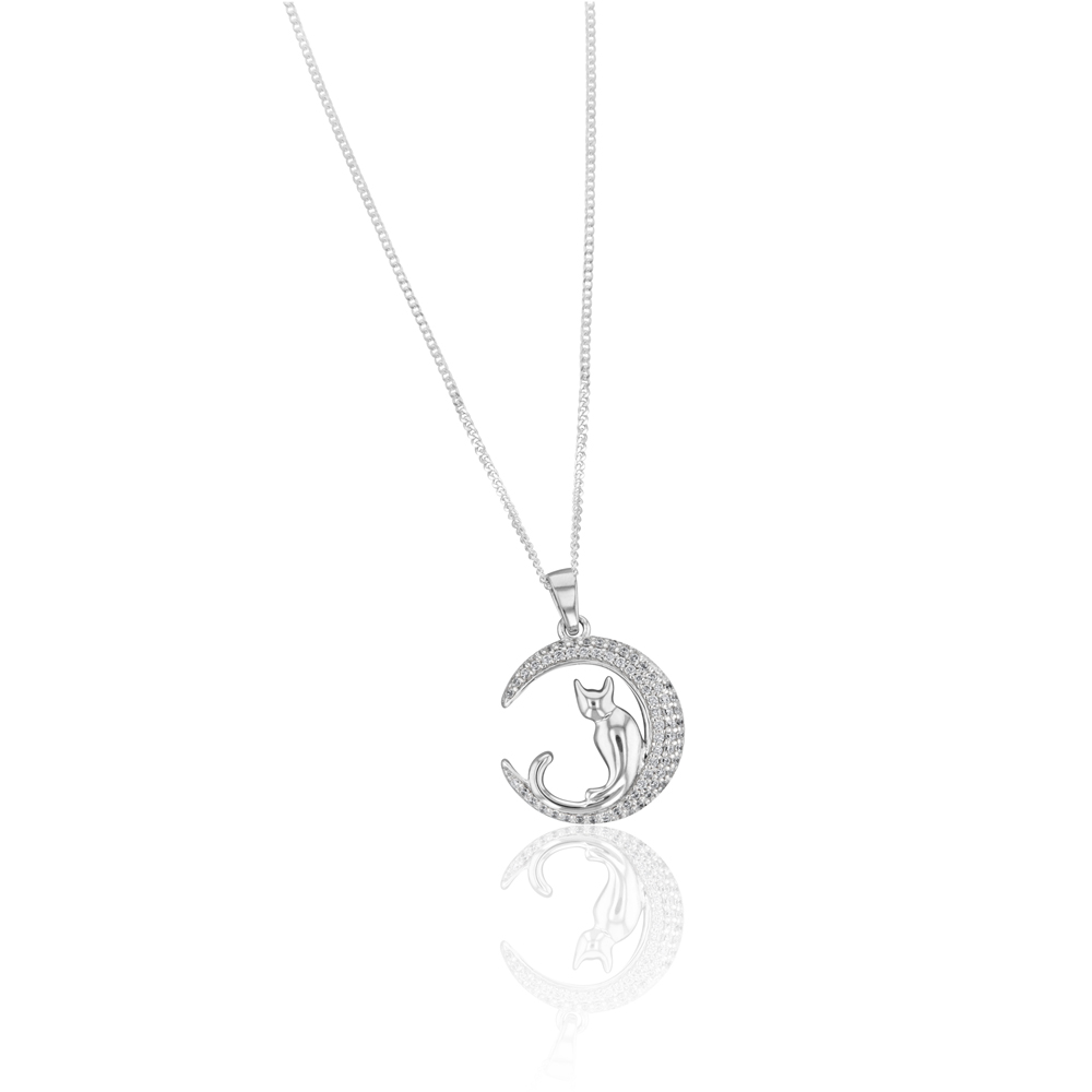 Sterling Silver Cubic Zirconia Crescent Moon with Cat Pendant