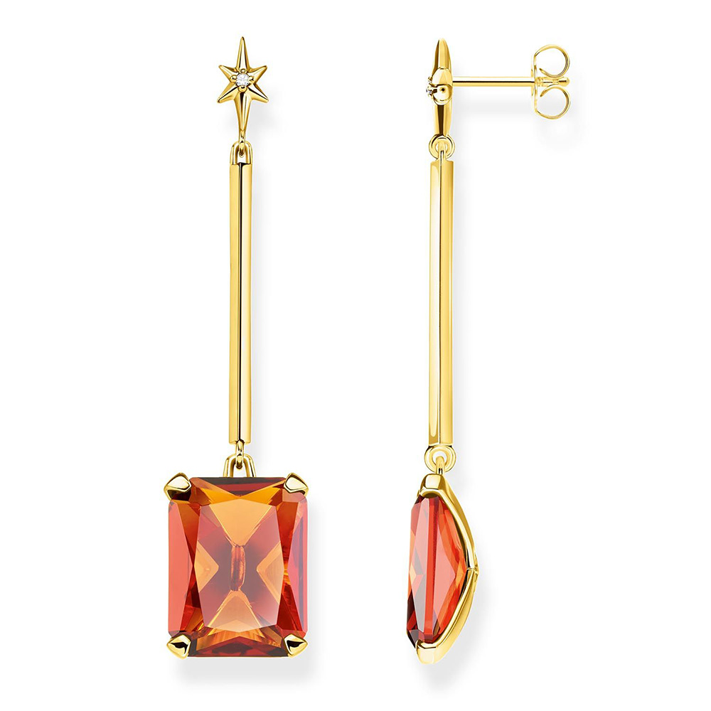 Sterling Silver and Gold Plated Thomas Sabo Magic Stones Cognac Drop Earrings
