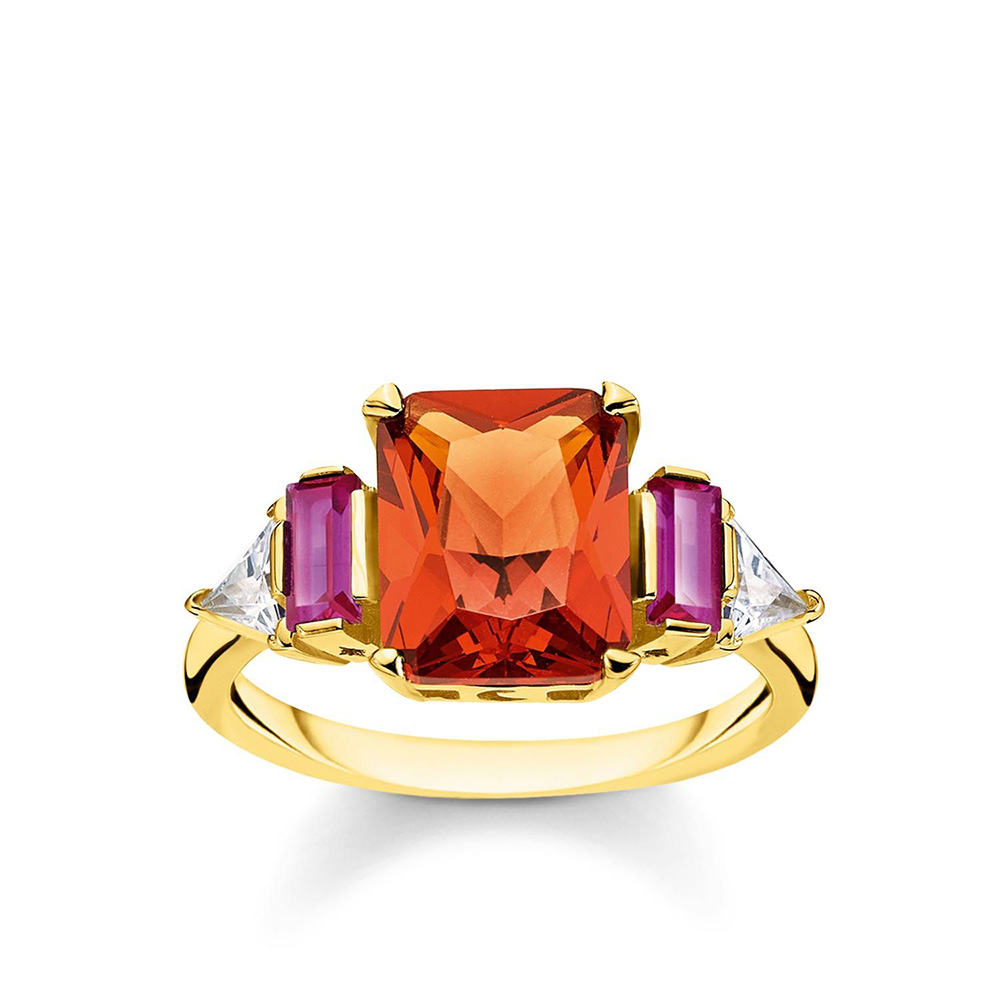 Sterling Silver and Gold Plated Thomas Sabo Cognac + Purple Ring