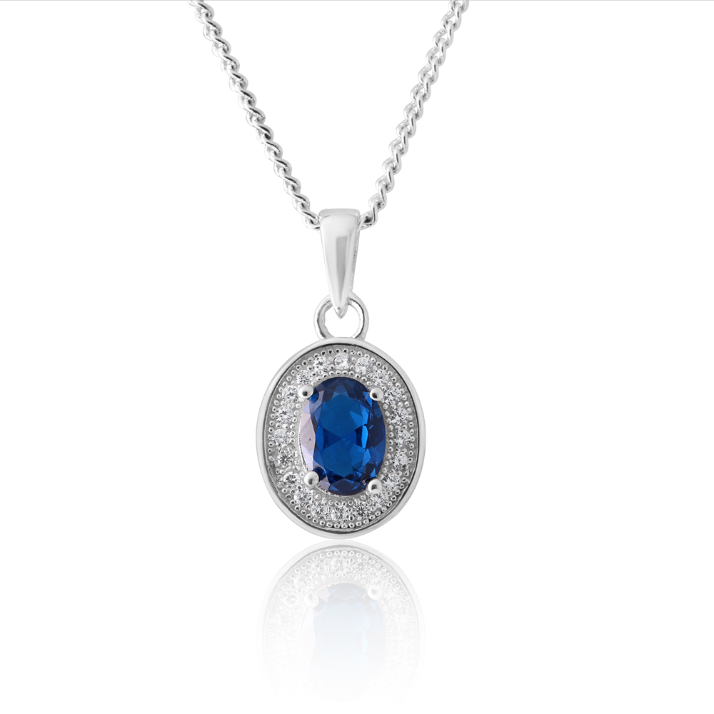 Sterling Silver Created Sapphire and Zirconia Oval Pendant