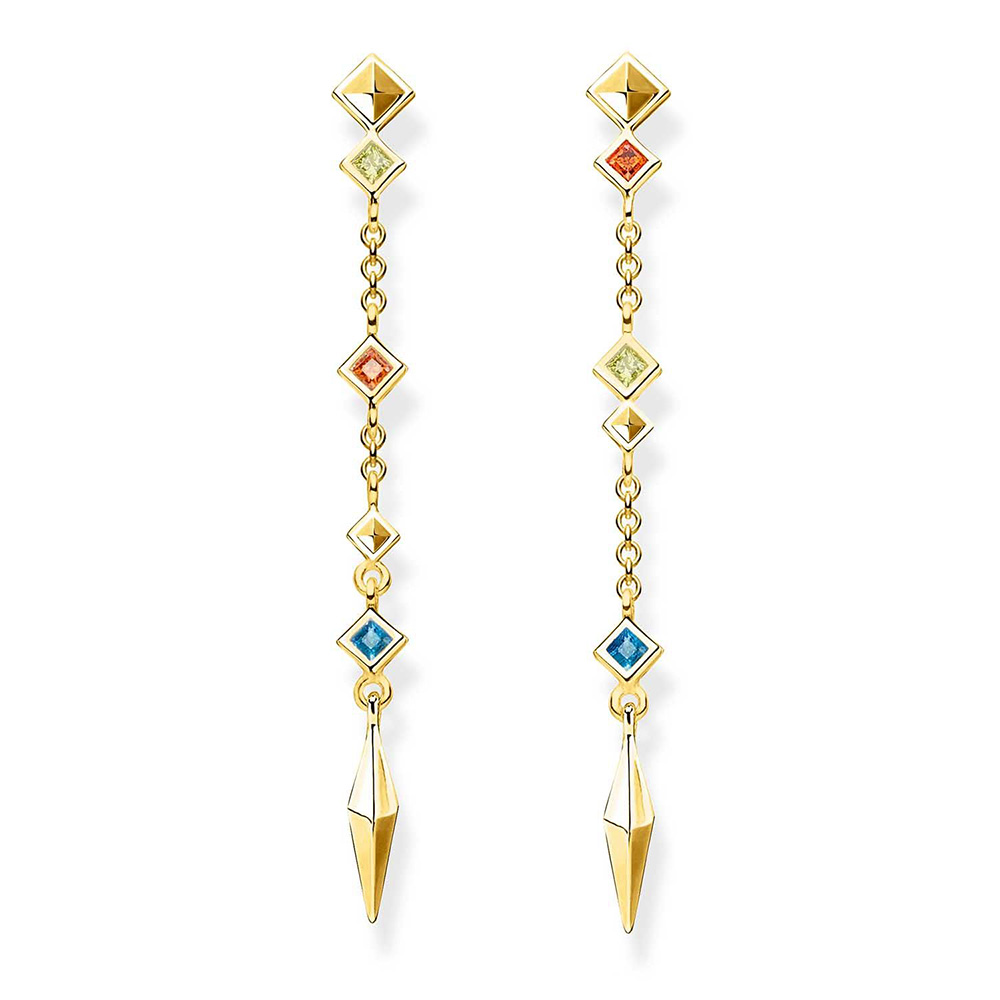 Sterling Silver Gold Plated Thomas Sabo Paradise Long Stud Earrings
