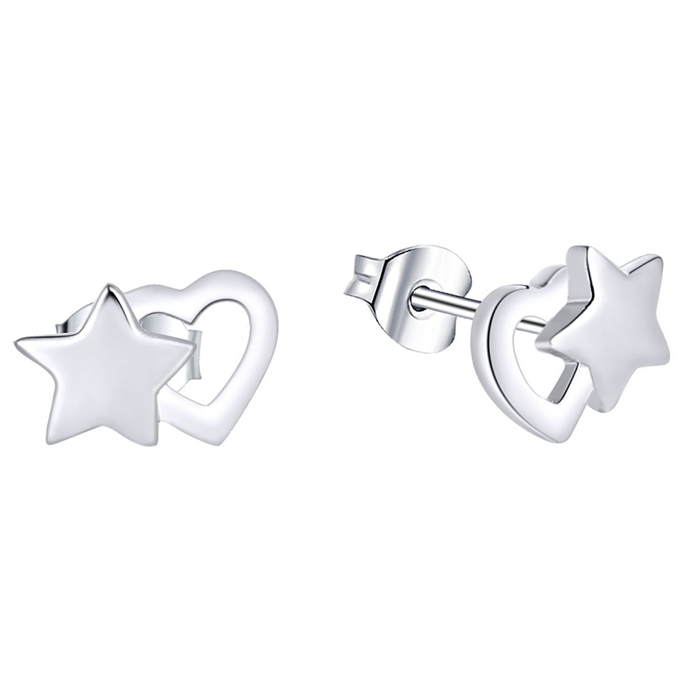 Sterling Silver Heart and Star Stud Earring