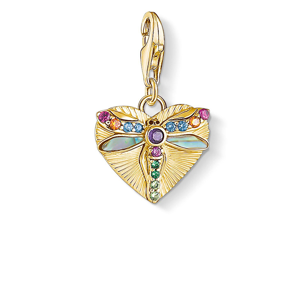 Gold Plated Sterling Silver Thomas Sabo Charm Club Dragonfly Heart