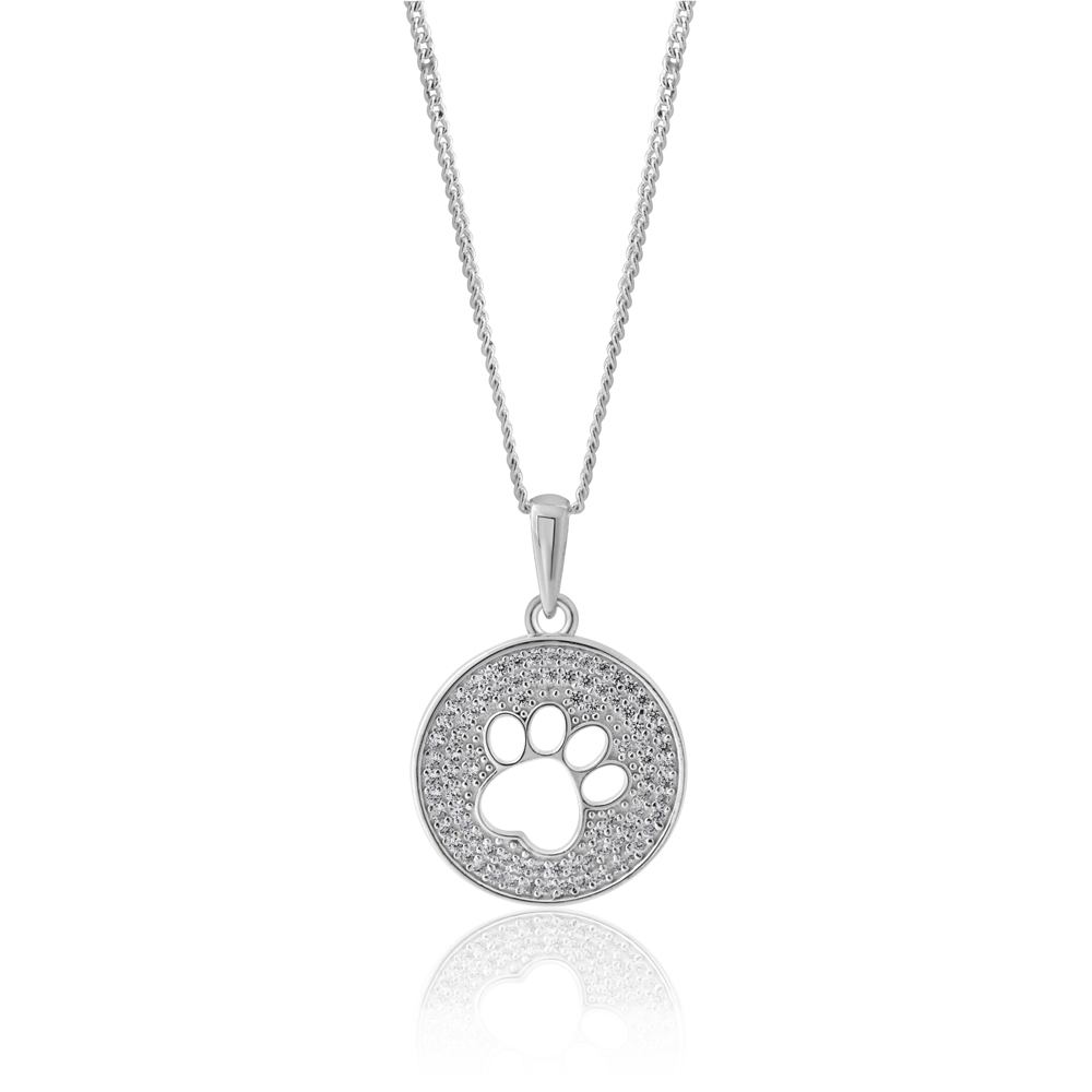 Sterling Silver Paw Print Zirconia Disc Pendant
