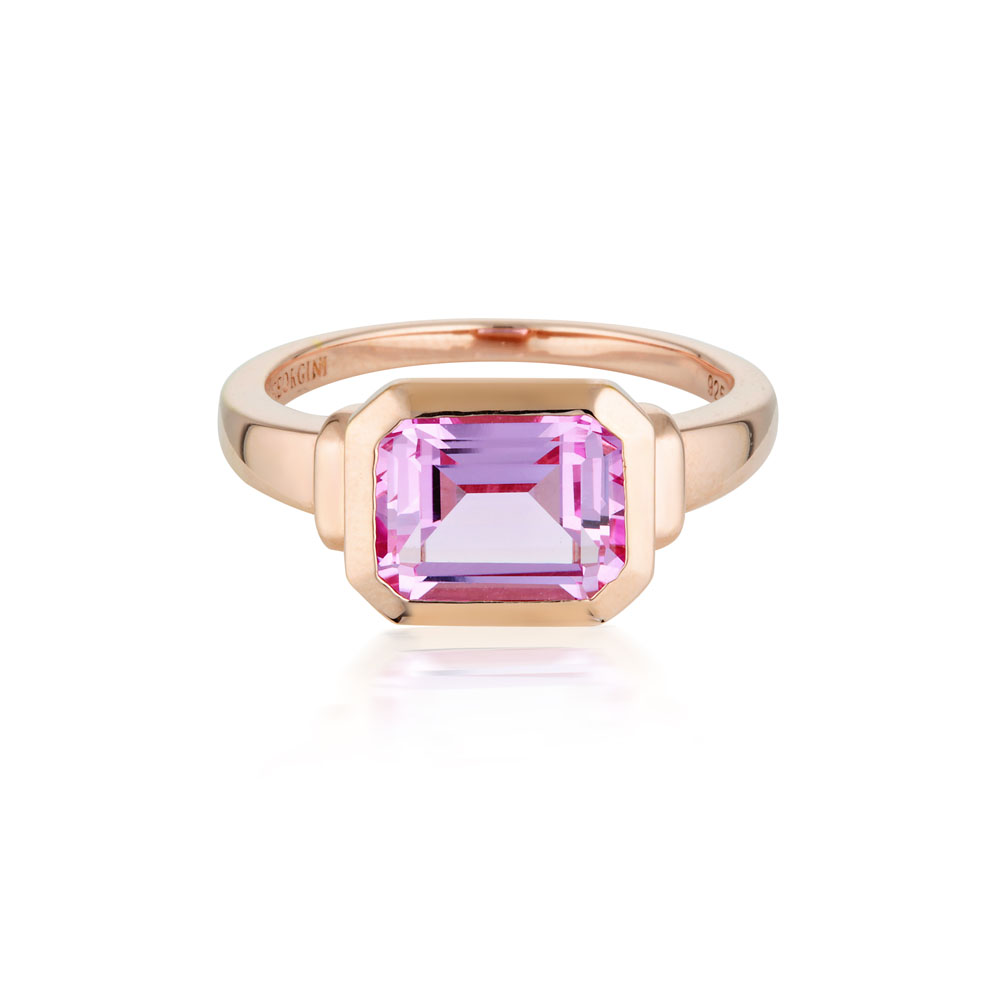 Sterling Silver Rose Plated Georgini Emilio Pink Sapphire Zion Ring
