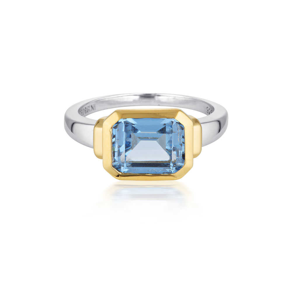 Sterling Silver Georgini Emilio Blue Topaz Zion Ring