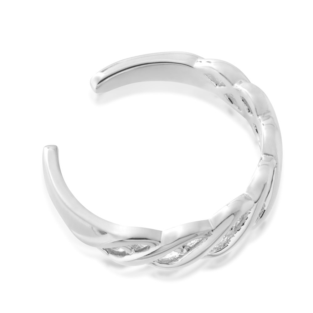 Sterling Silver Toe Ring Plait
