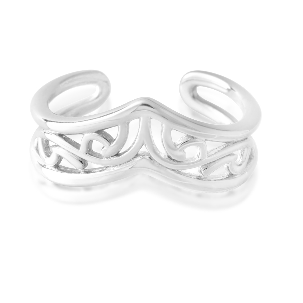 Sterling Silver Toe Ring Border Filigree